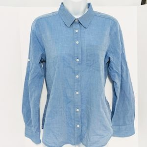 Anne Taylor Petite blue Button Down Shirt Medium